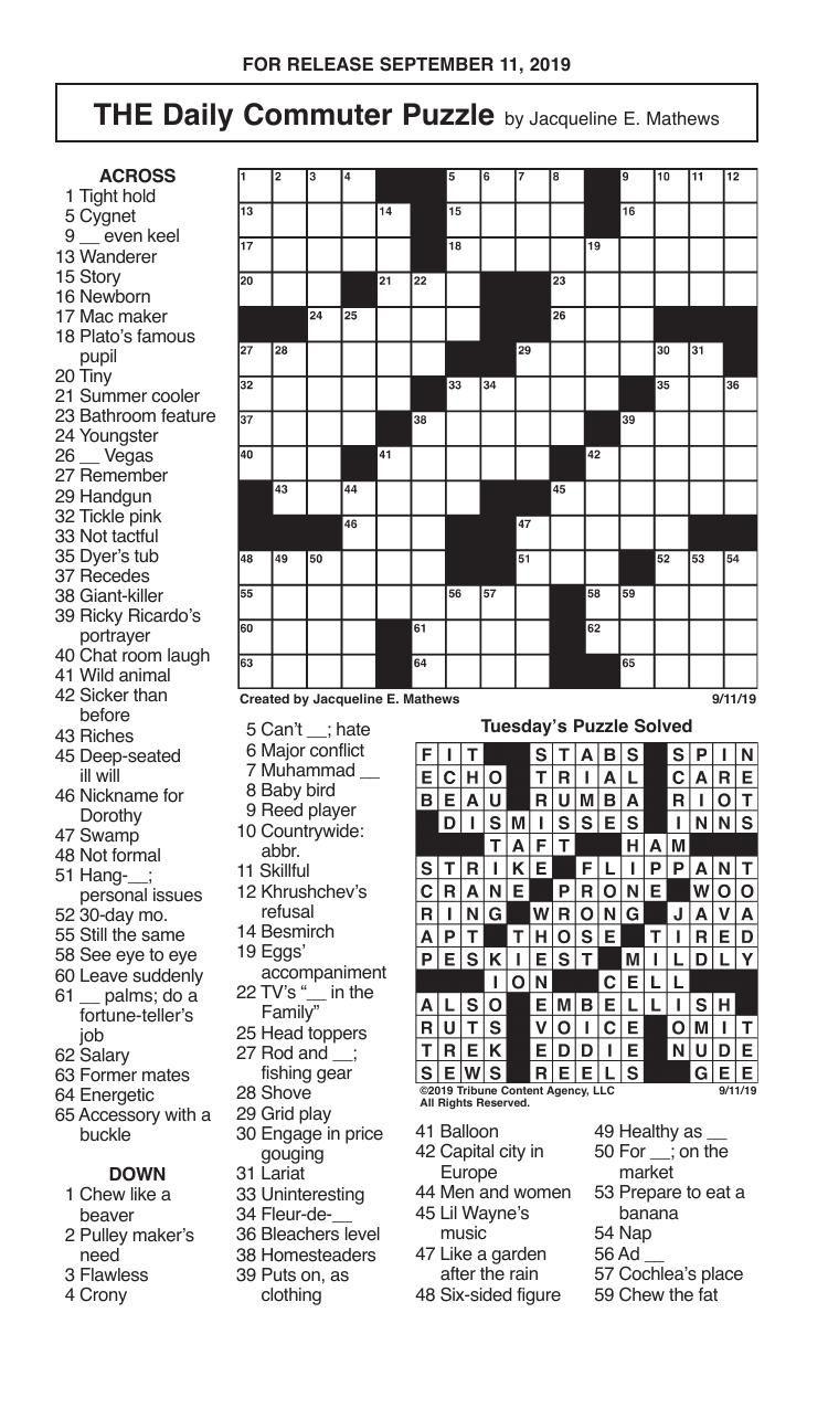 Crosswords, September 11, 2019
