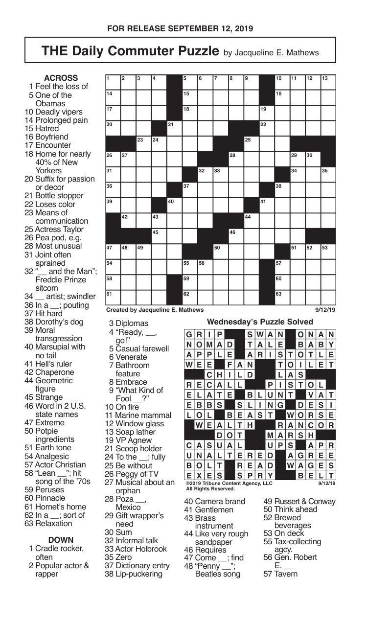 Crosswords, September 12, 2019