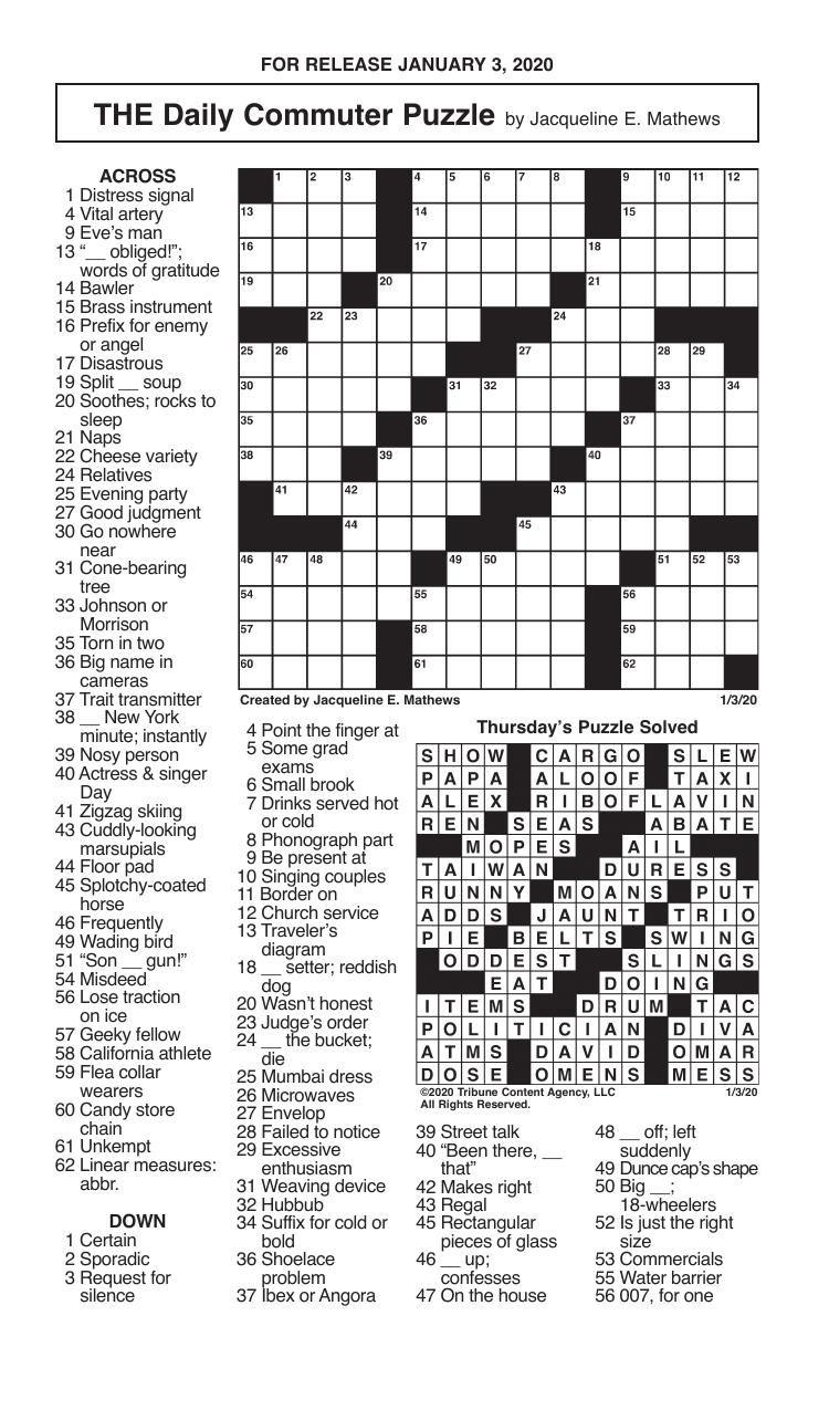 Crosswords, January 3, 2020