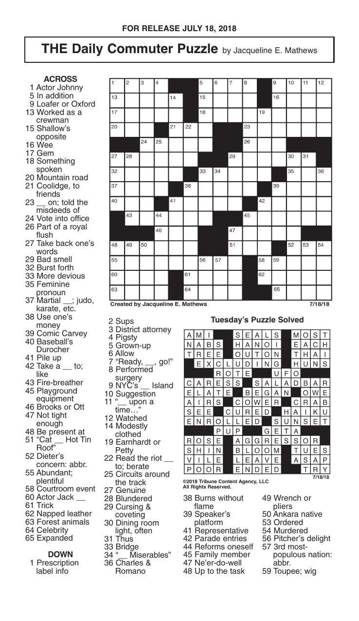 Crosswords July 18 2018 Crosswords Redandblack Com