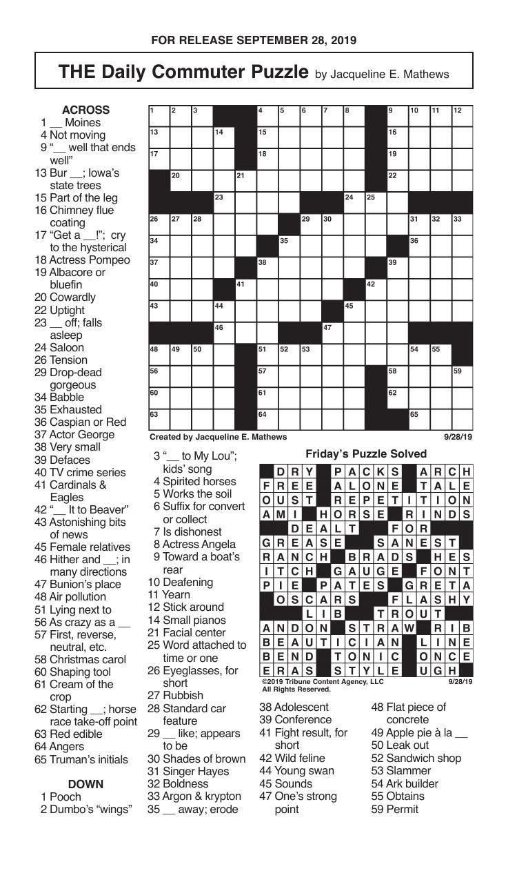Crosswords, September 28, 2019