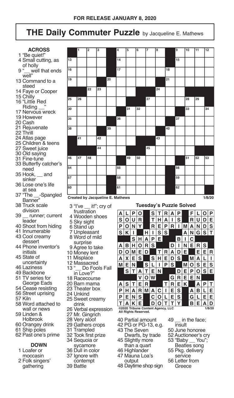 Crosswords, January 8, 2020