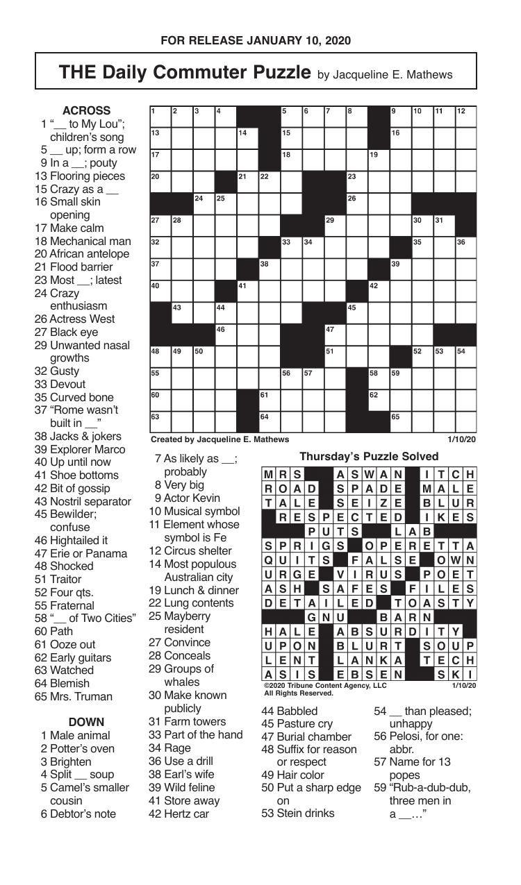 Crosswords, January 10, 2020