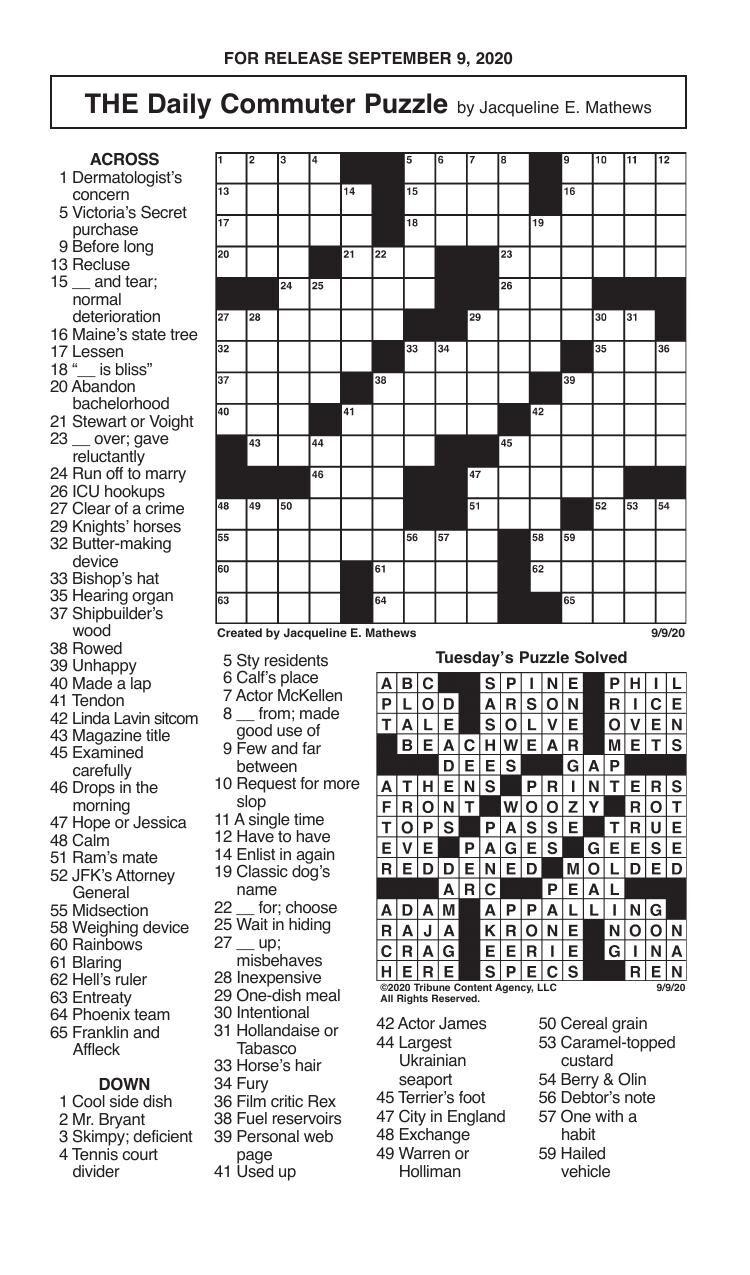 Crosswords, September 9, 2020