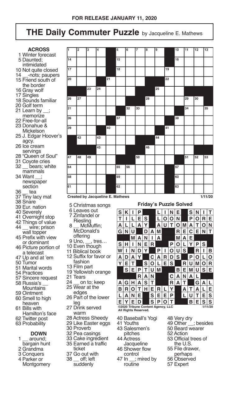 Crosswords, January 11, 2020