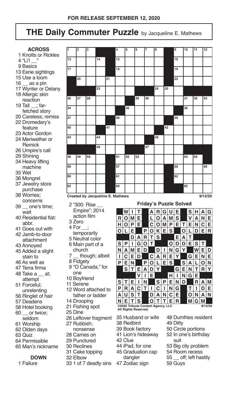 Crosswords, September 12, 2020