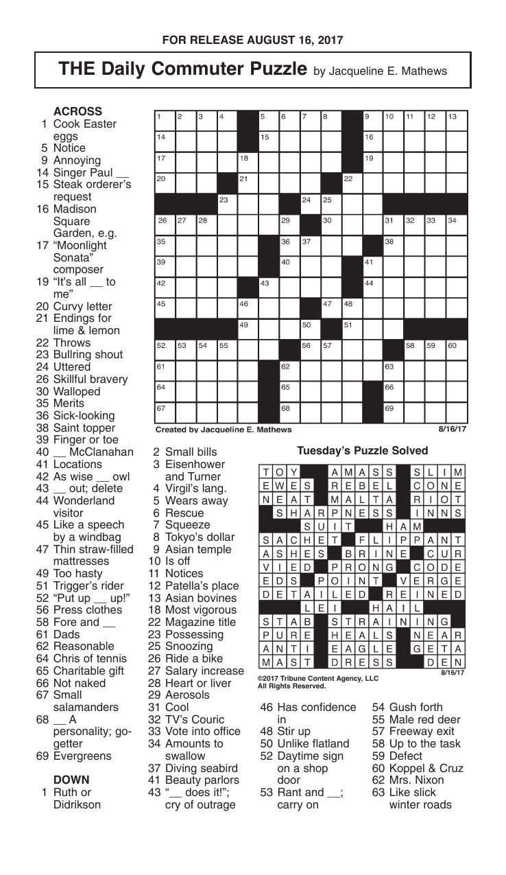 Crosswords, August 16, 2017 | Crosswords | redandblack.com