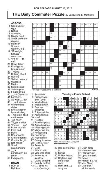 Crosswords August 16 2017 Crosswords