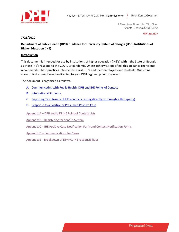 DPH plans to USG