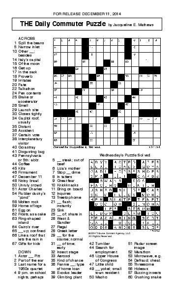 Crossword December 11 Puzzles Redandblack Com