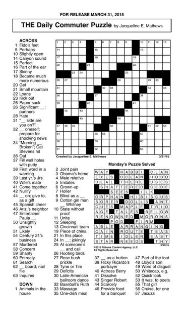 Crossword March 31 Puzzles Redandblack Com