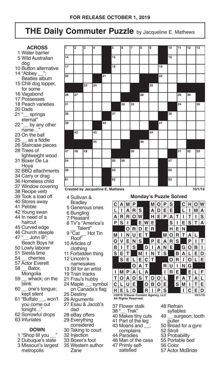 Crosswords, October 1, 2019