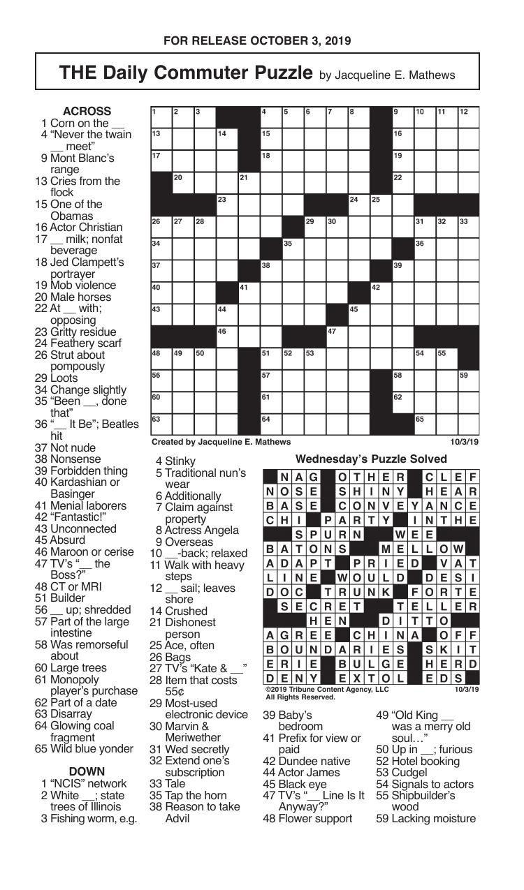 Crosswords, October 3, 2019