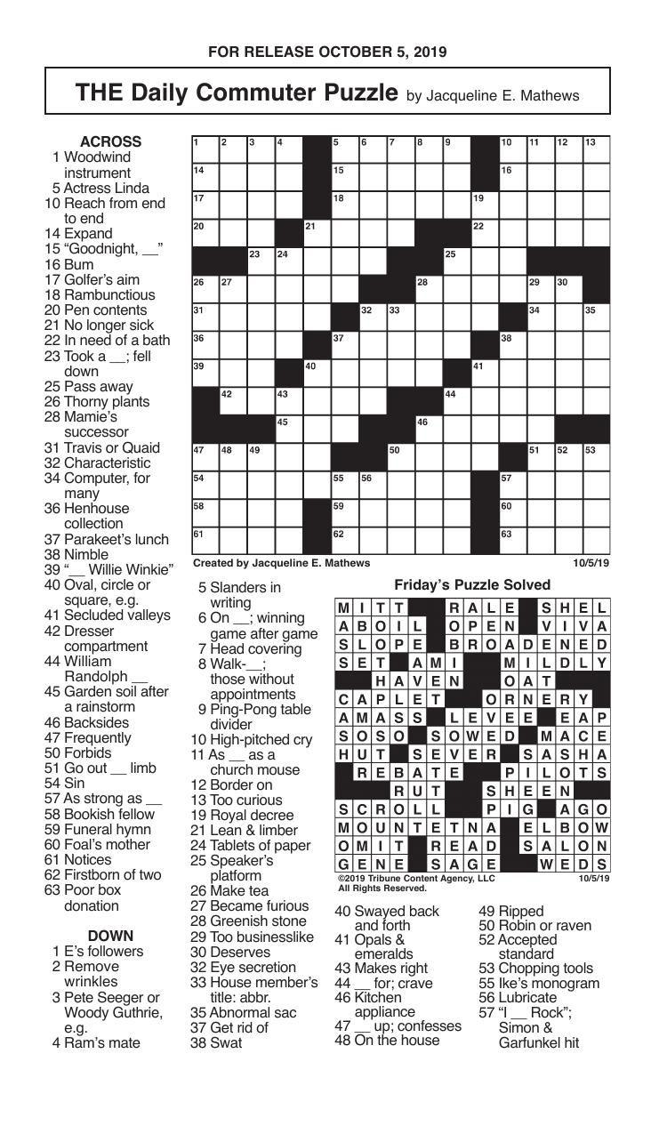 Crosswords, October 5, 2019