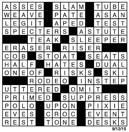 crossword-answers-september 12 | Puzzles | redandblack com