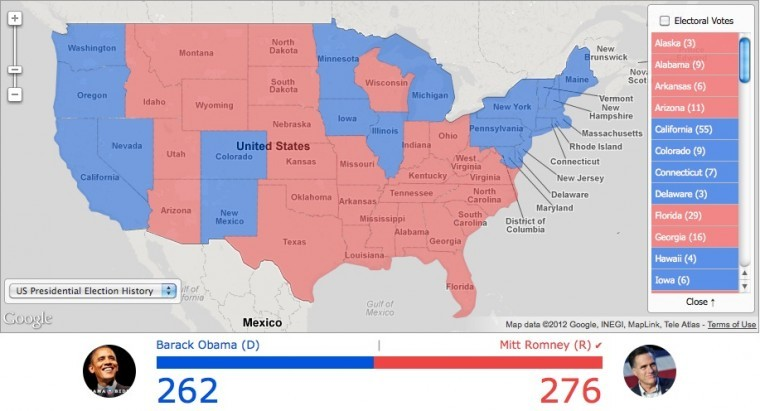 Us electoral map prediction