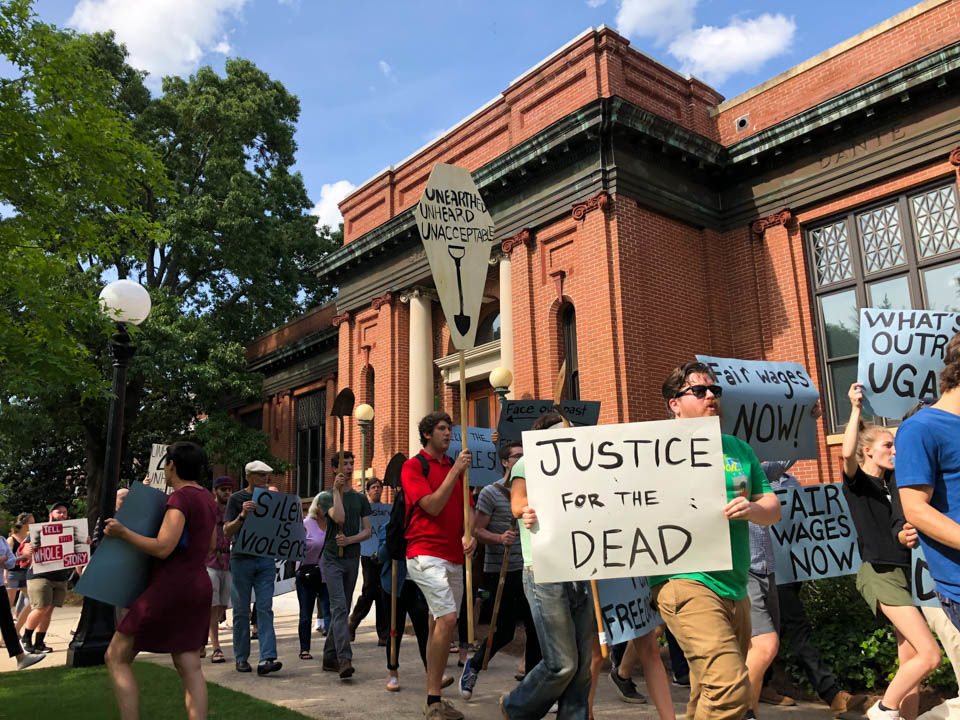 Slave remains protest