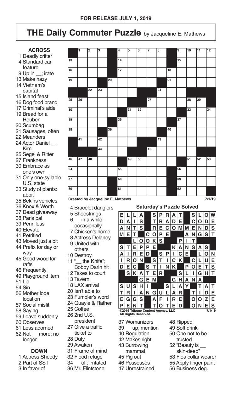 Crosswords, July 1, 2019