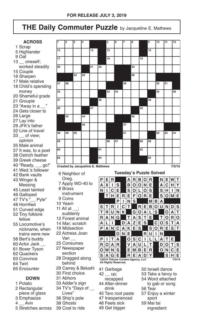 Crosswords, July 3, 2019