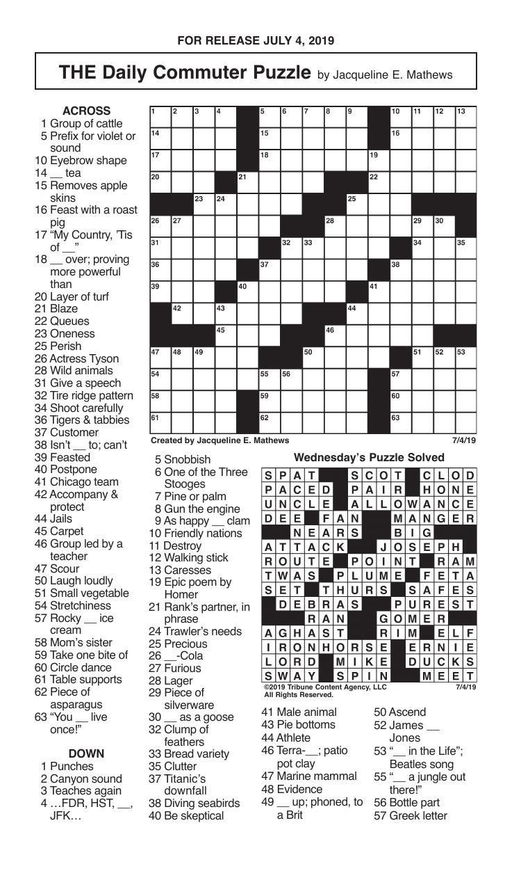 Crosswords, July 4, 2019