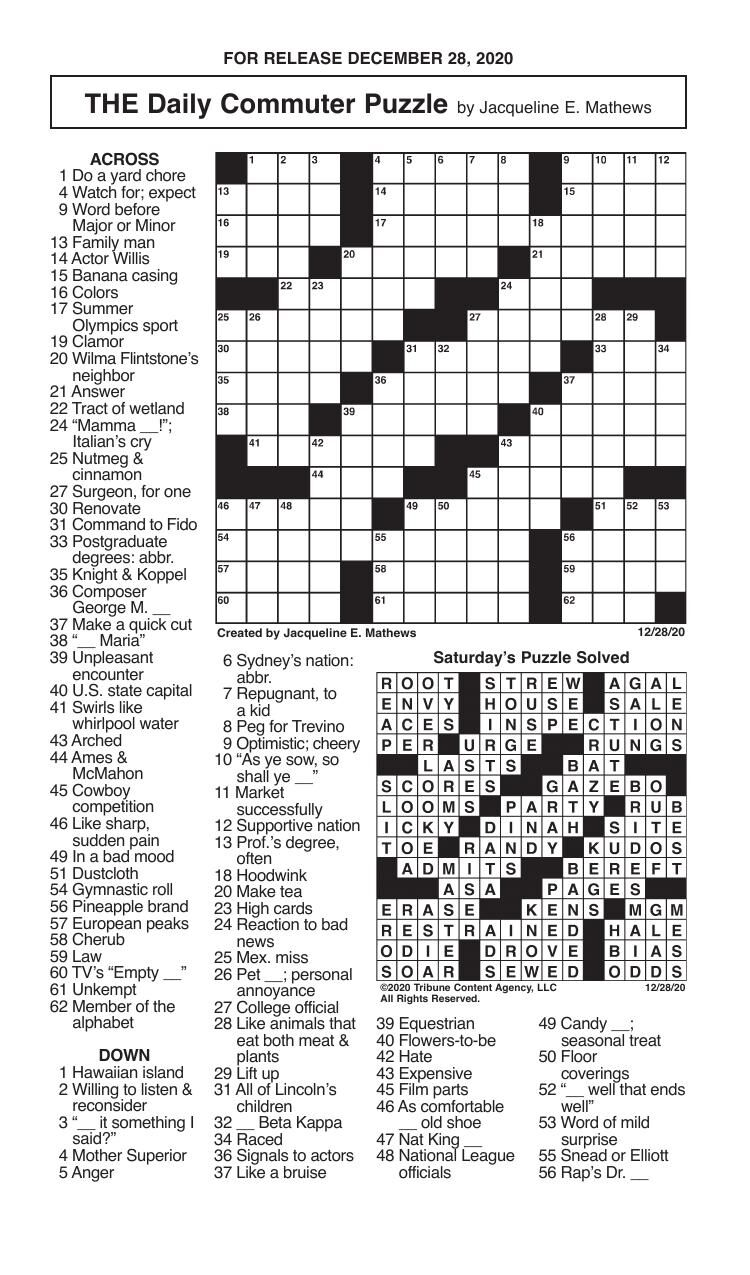 Crosswords, December 28, 2020