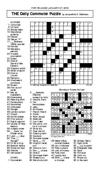 Crossword January 27 | Puzzles | redandblack.com