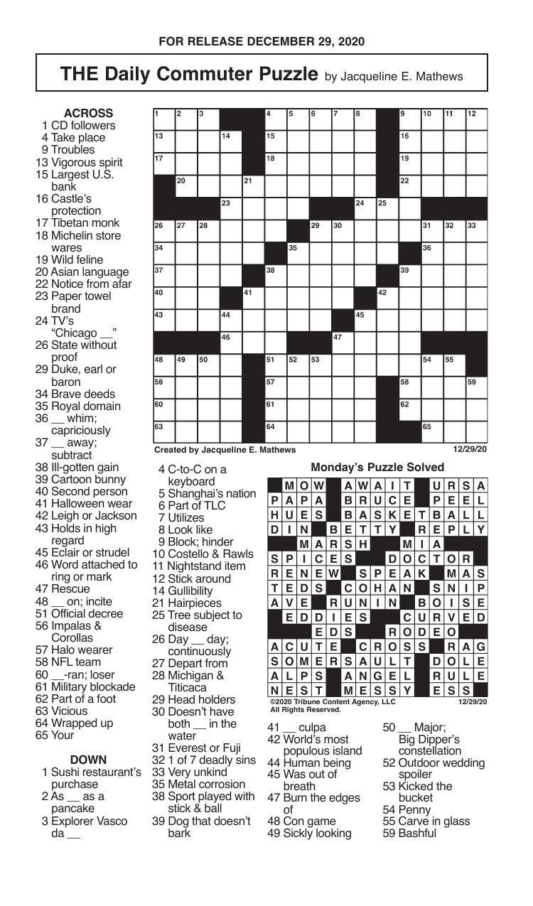 Crosswords, December 29, 2020