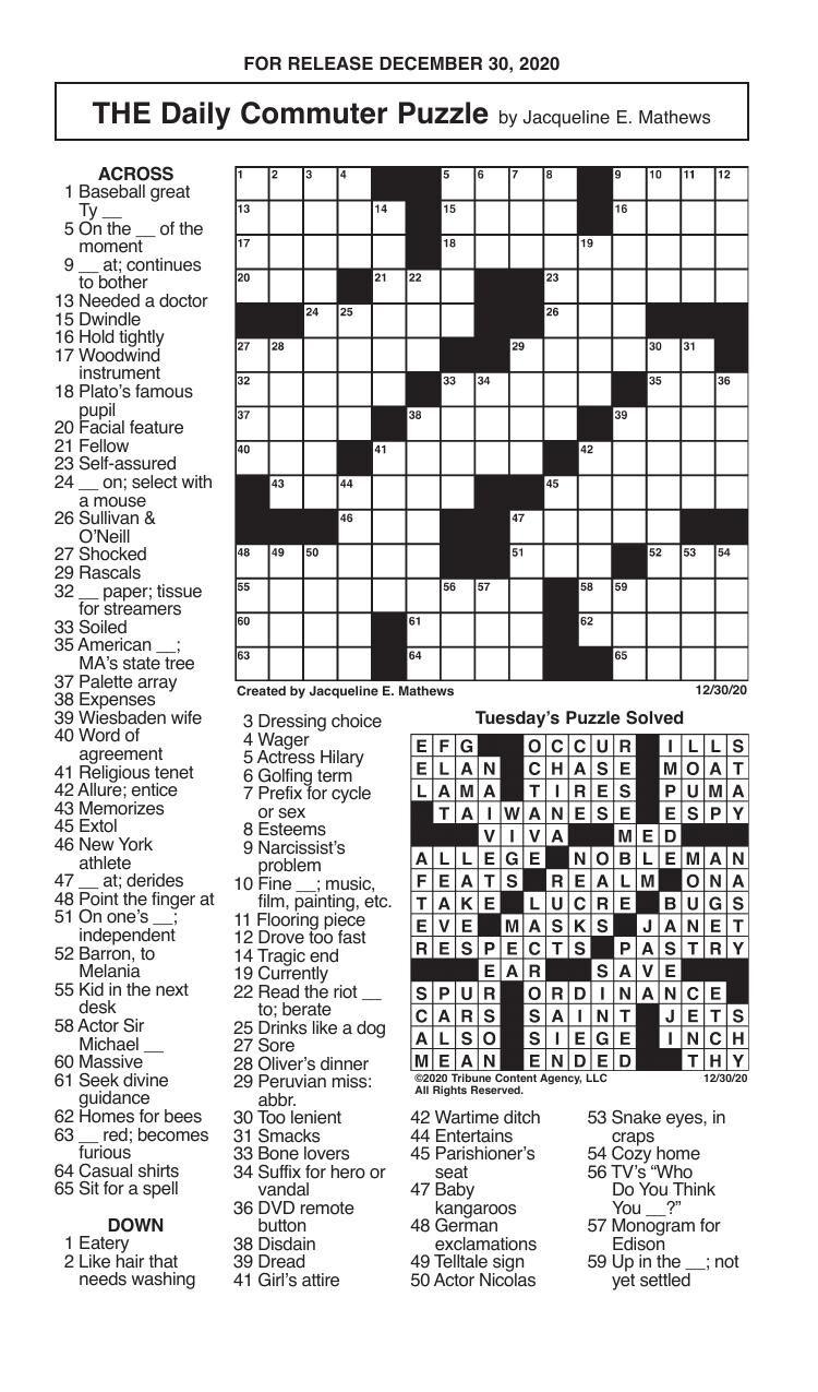 Crosswords, December 30, 2020