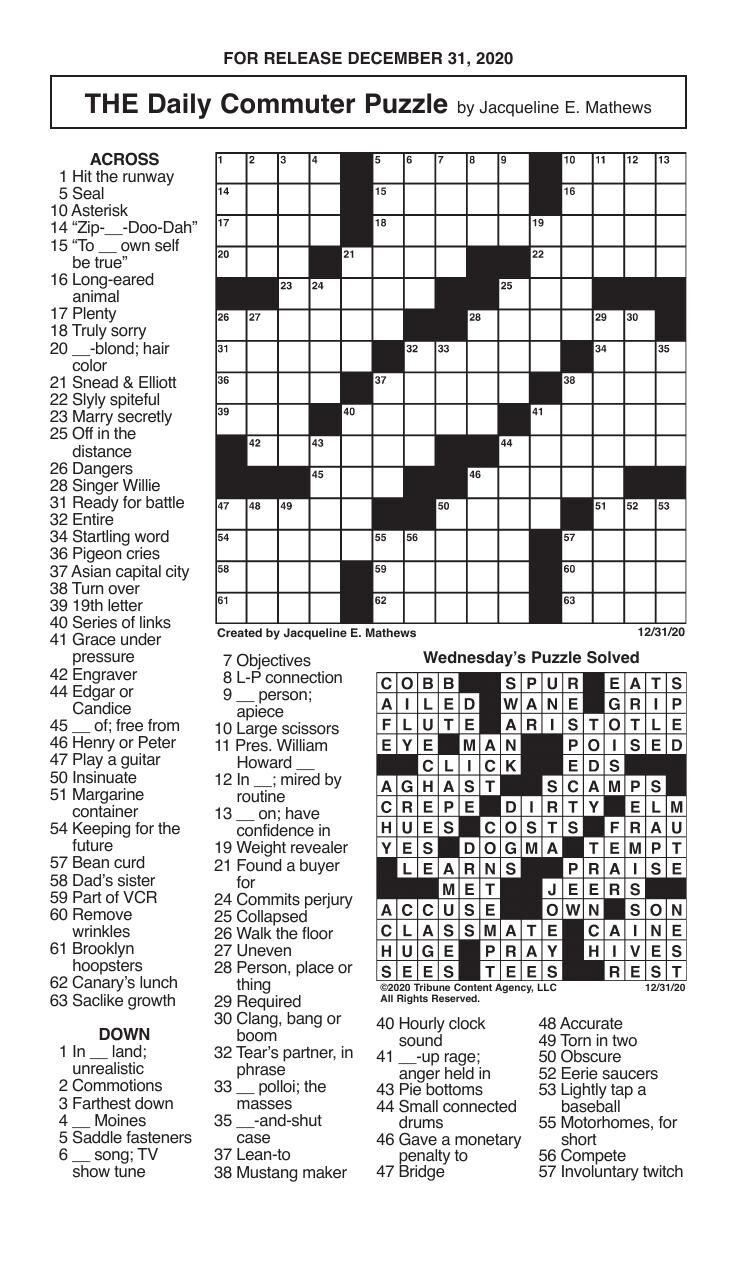 Crosswords, December 31, 2020