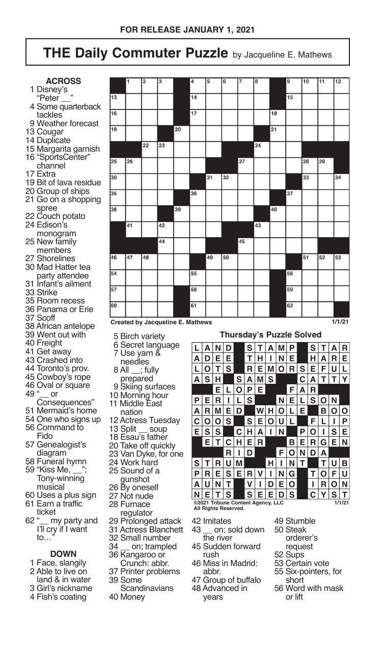 Crosswords, January 1, 2021