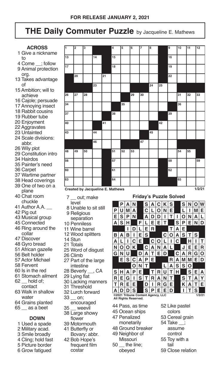 Crosswords, January 2, 2021