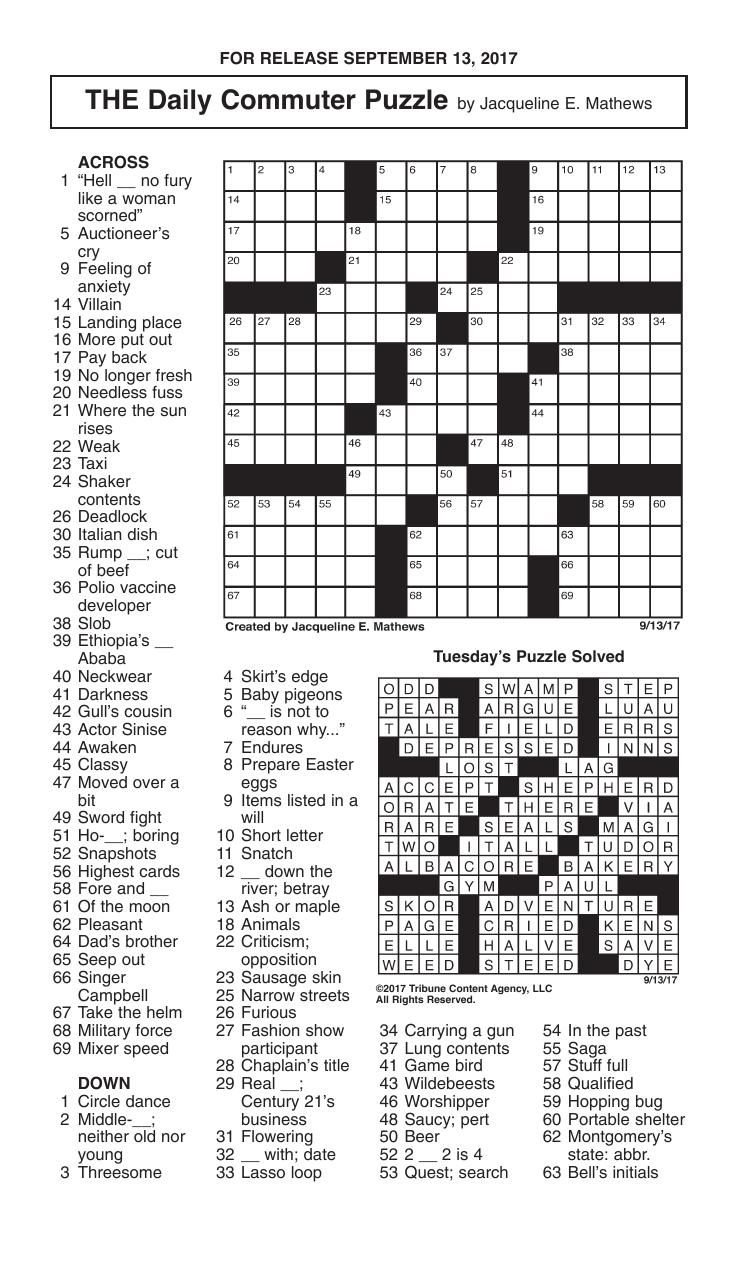 It's just a picture of Nifty Free Daily Crossword Puzzles Printable