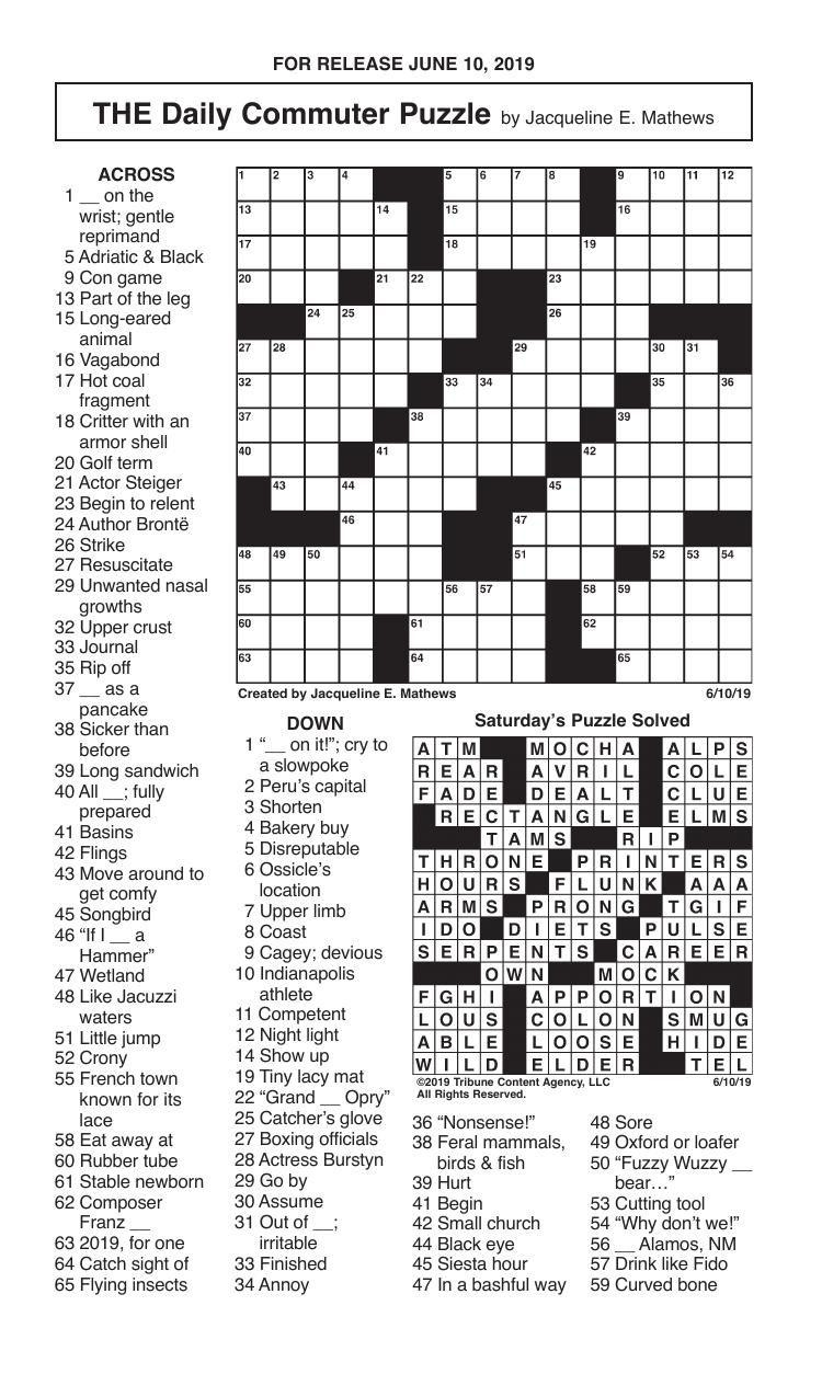 Crosswords, June 10, 2019