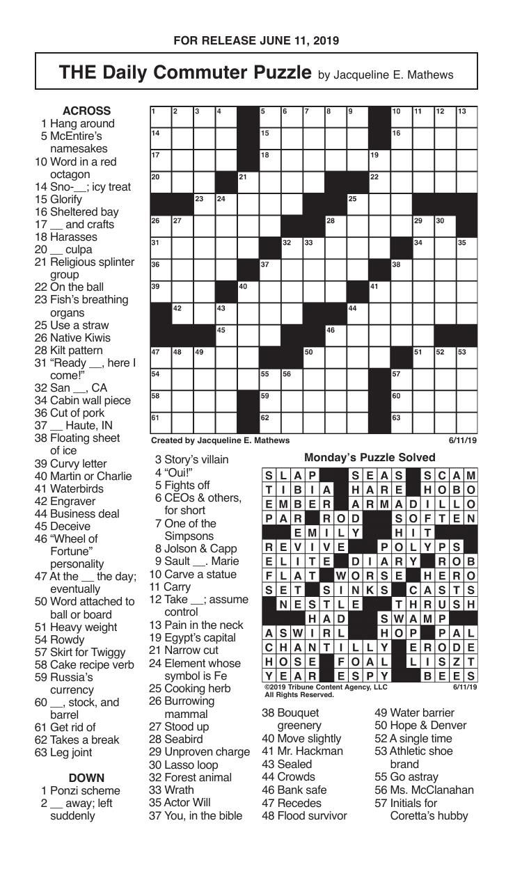 Crosswords, June 11, 2019