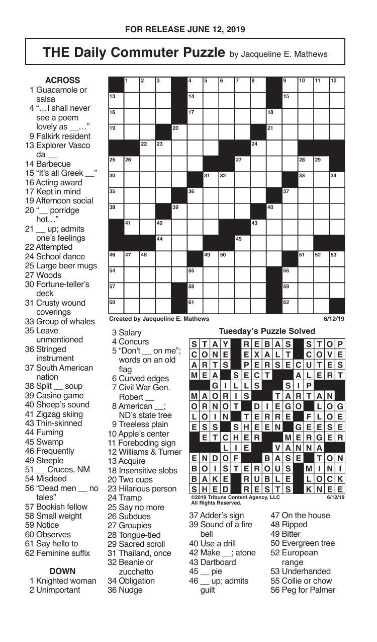 Crosswords, June 12, 2019