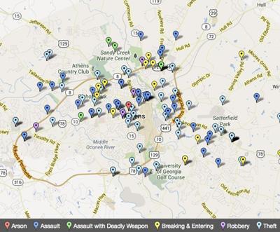 Map Of Georgia Athens.Athens Crime Map August 12 18 Maps Redandblack Com