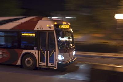 UGA bus at night