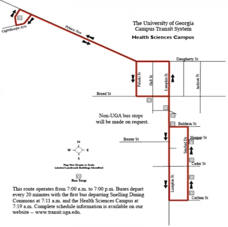 Uga Health Sciences Campus Map.New Uga Bus Route Travels To Prince Ave News Redandblack Com