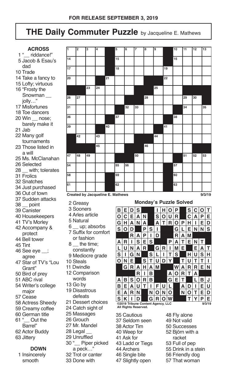Crosswords, September 3, 2019