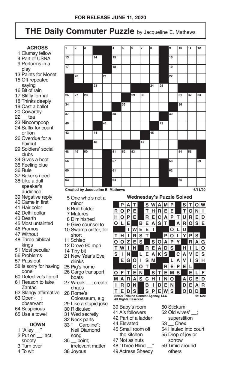 Crosswords, June 11, 2020