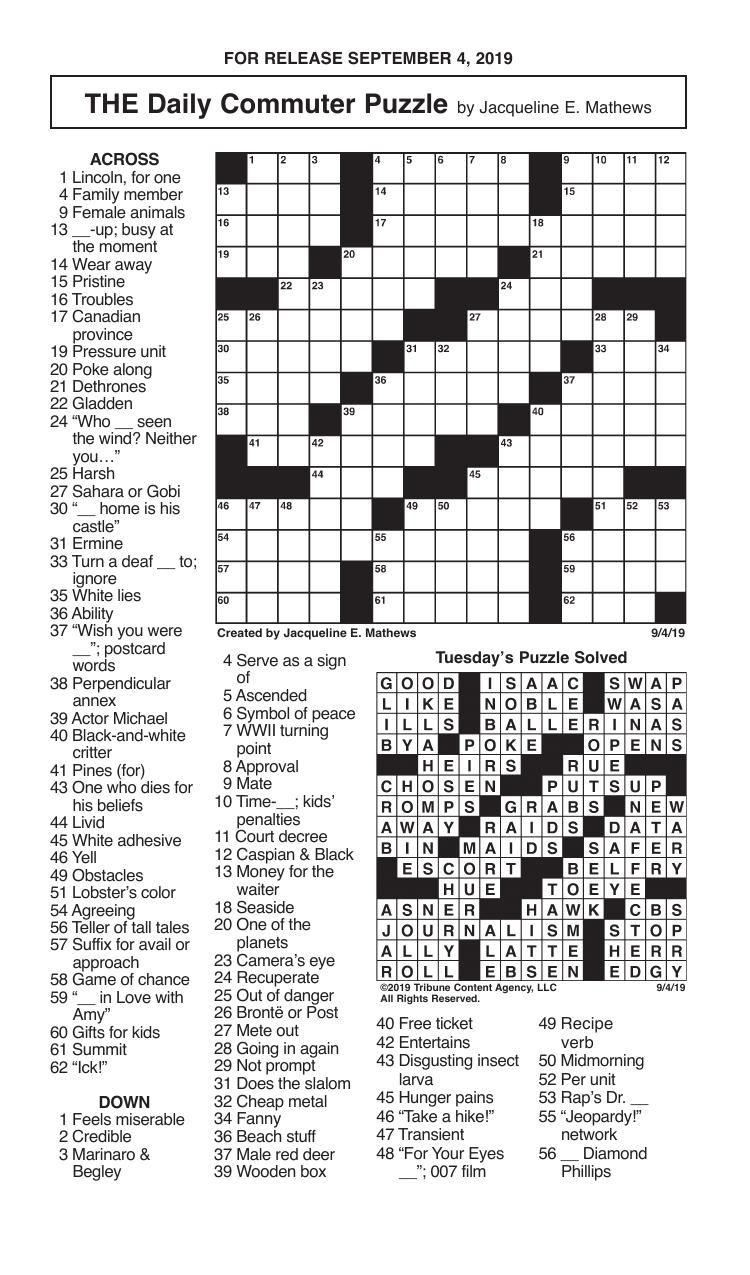 Crosswords, September 4, 2019