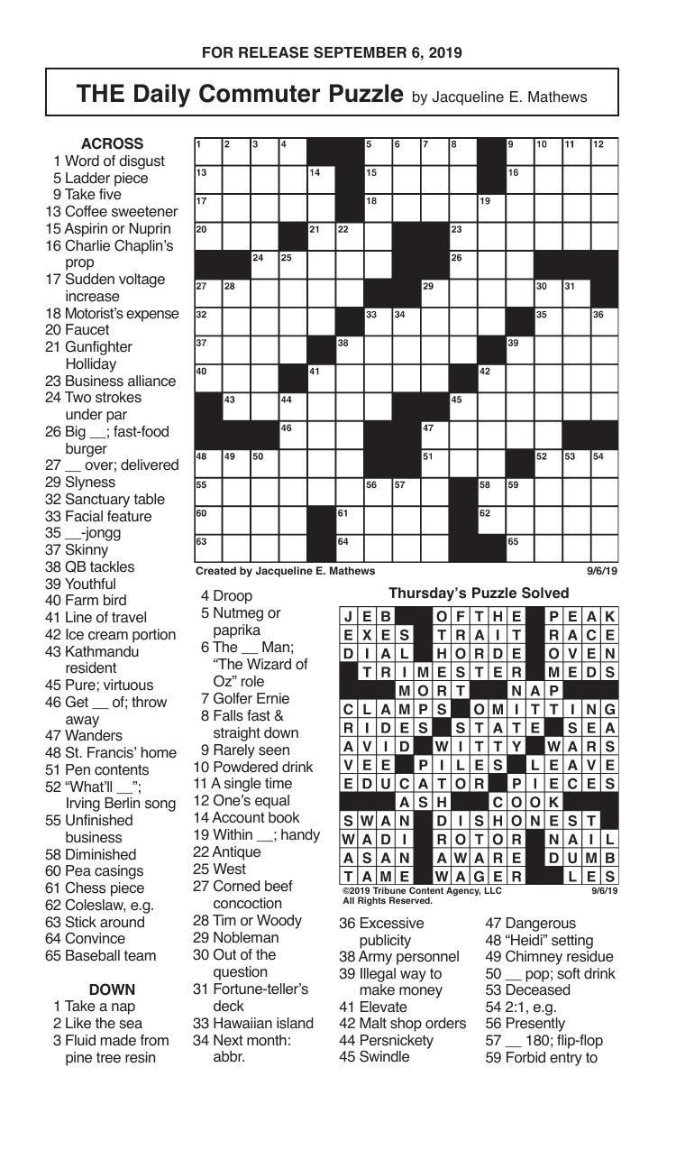 Crosswords, September 6, 2019