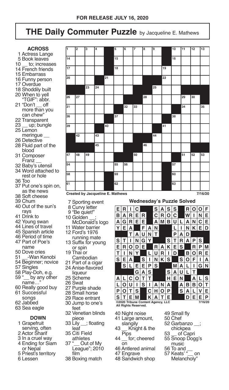 Crosswords, July 16, 2020