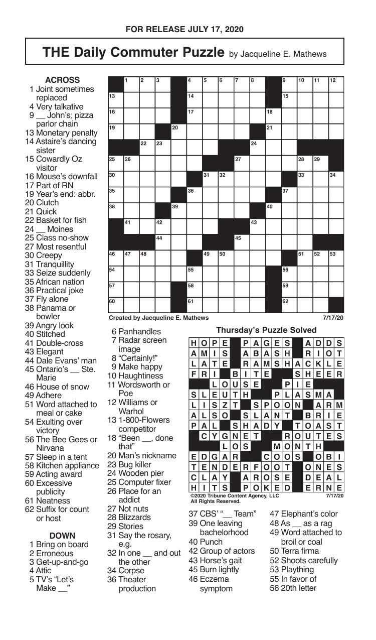 Crosswords, July 17, 2020