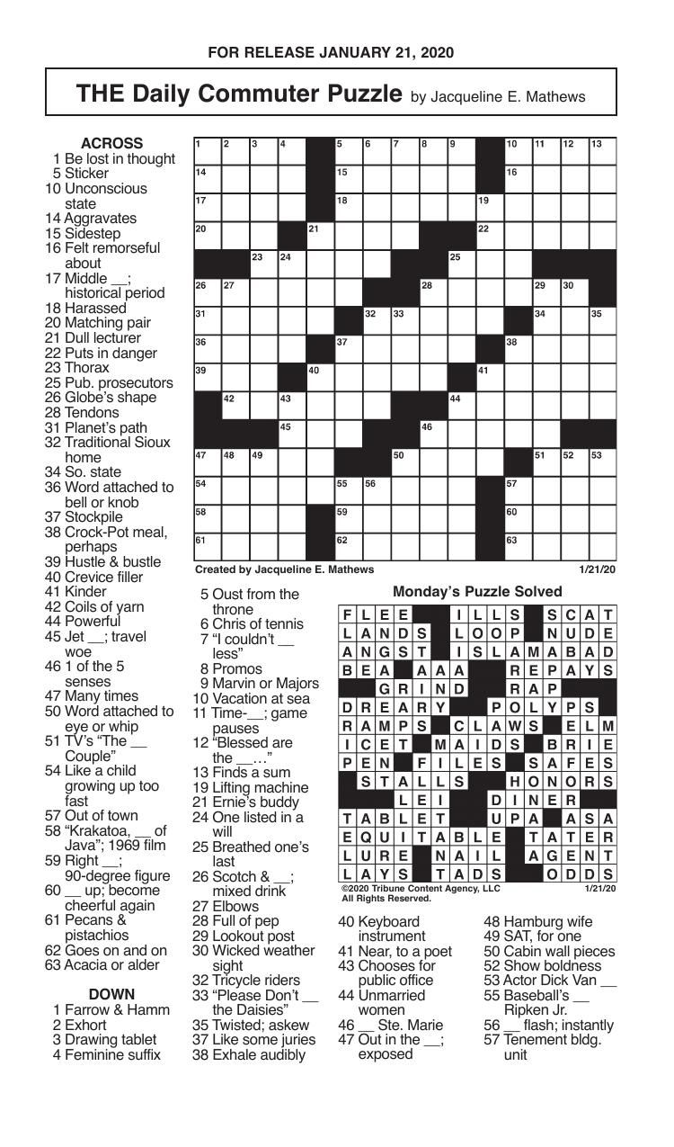 Crosswords, January 21, 2020