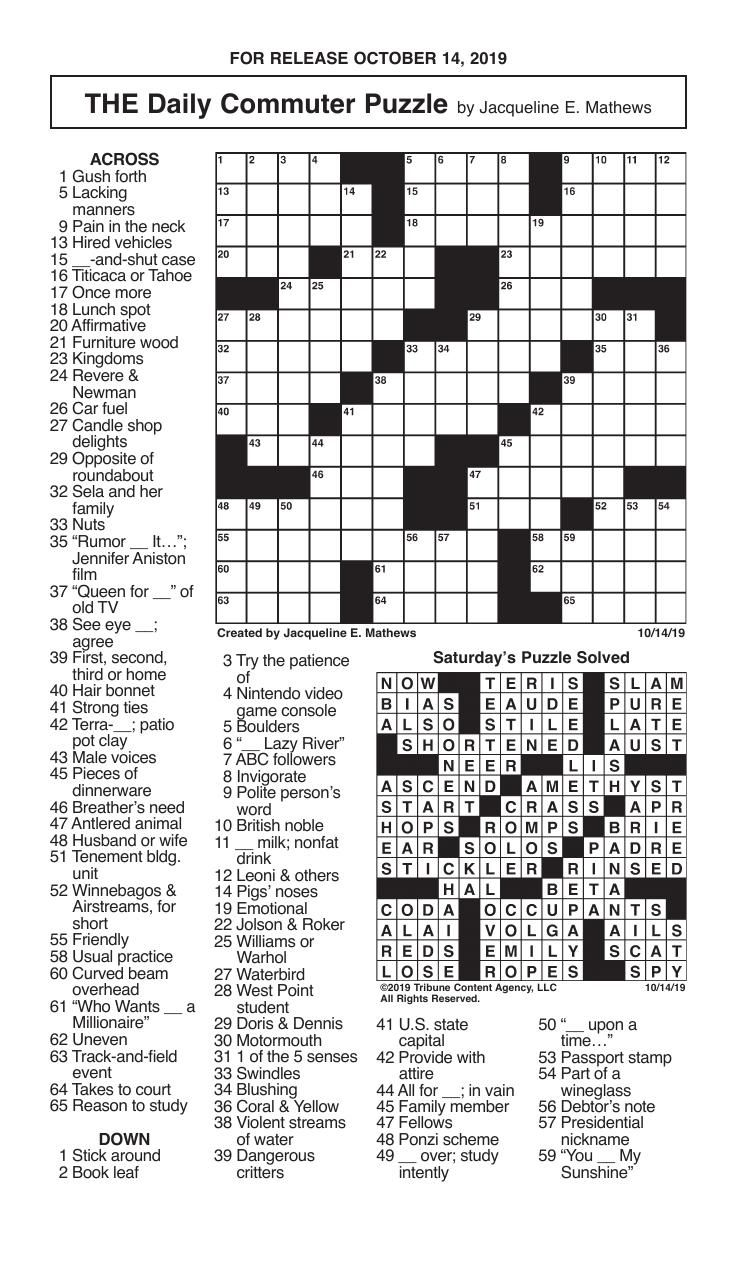 Crosswords, October 14, 2019