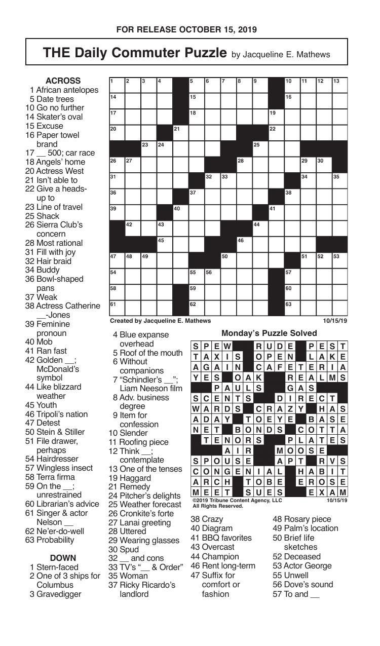 Crosswords, October 15, 2019