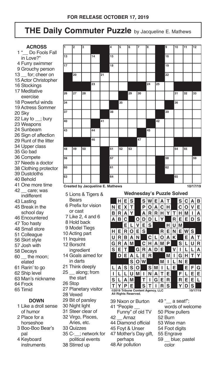 Crosswords, October 17, 2019