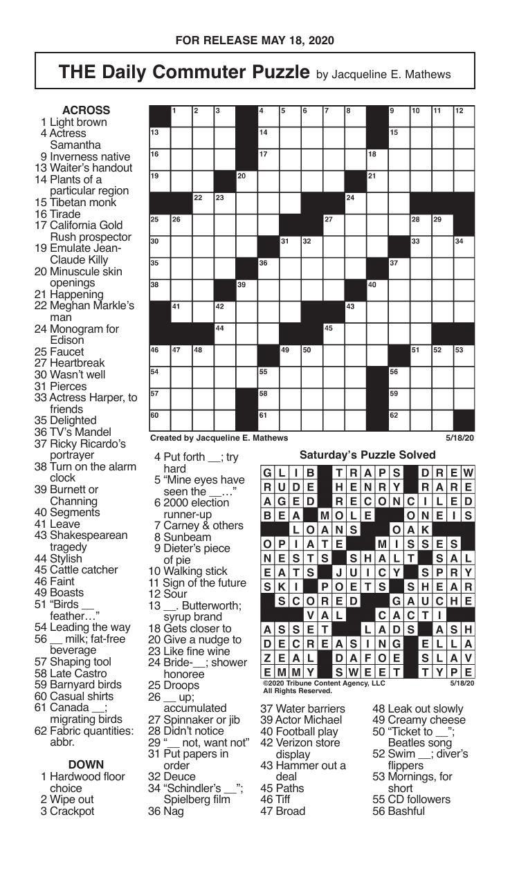 Crosswords, May 18, 2020
