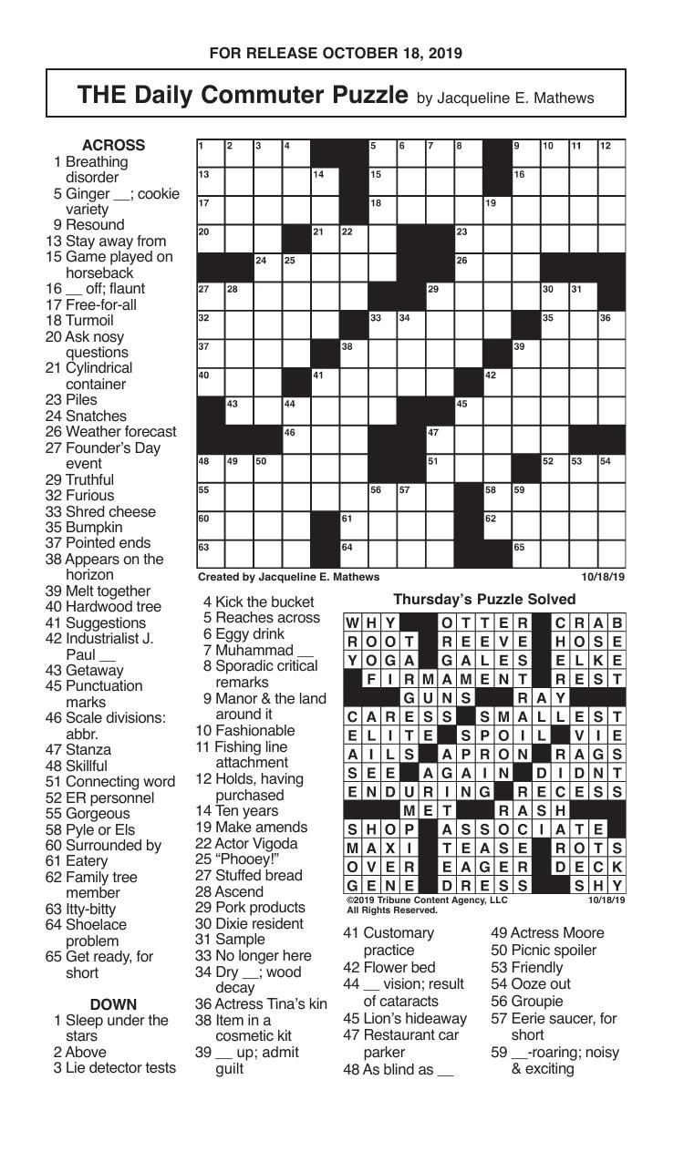 Crosswords, October 18, 2019